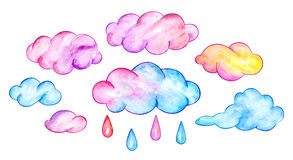 Multicolor clouds and rain drops. Funny cartoon sky. Watercolor illustration Royalty Free Stock Photo