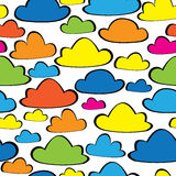 Multicolor clouds seamless pattern Stock Image