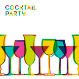Multicolor cocktail glasses. Vector watercolor seamless backgrou Stock Image