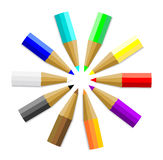 Multicolor Colored Pencils or Crayons Stock Photo