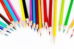 Multicolor colored pencils or crayons. Stock Photos