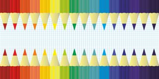 Multicolor colored pencils for school or office rainbow color, background vector Royalty Free Stock Photos