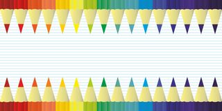 Multicolor colored pencils for school or office rainbow color, background vector Stock Images