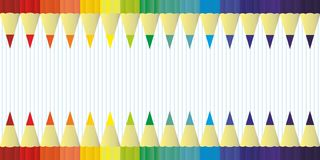 Multicolor colored pencils for school or office rainbow color, background vector Stock Image