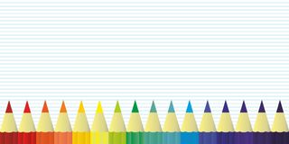 Multicolor colored pencils for school or office rainbow color, background vector Stock Photos