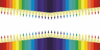 Multicolor colored pencils for school or office rainbow color, background vector Royalty Free Stock Image