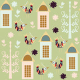 Multicolor  colorful birds seamless pattern and seamless pattern Stock Images