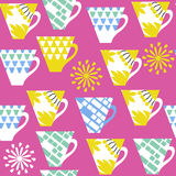 Multicolor  colorful cup seamless pattern and seamless pattern i Stock Photos