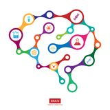Multicolor connection brain with icon, creative concept of human. Brain, vector illustration Royalty Free Illustration