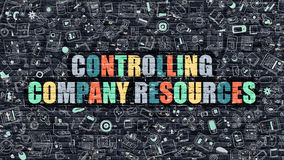 Multicolor Controlling Company Resources on Dark Brickwall. Controlling Company Resources - Multicolor Concept on Dark Brick Wall Background with Doodle Icons Royalty Free Stock Images