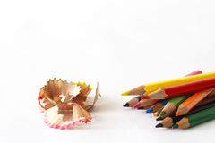 Multicolor crayon with shavings Royalty Free Stock Images
