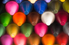 Multicolor crayon tips closeup Royalty Free Stock Photography
