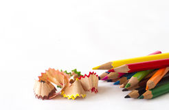Multicolor crayon wiht shavings Royalty Free Stock Images