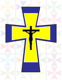 Multicolor Cross with Black Jesus Cross on The Transoarency Colo. Rful Cristal Wall Stock Photography