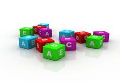 Multicolor cubes alphabetical Stock Image
