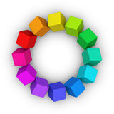 Multicolor cubes circle Stock Images