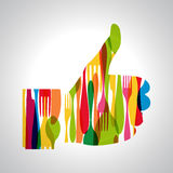 Multicolor cutlery thumb up Stock Images