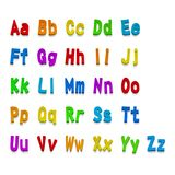 Multicolor 3d Fonts, available all letters. Vector illustration Stock Photography