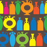 Multicolor decorative vases icons of seamless pattern Royalty Free Stock Photo
