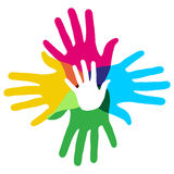 Multicolor diversity hands. Multicolor creative diversity hands symbol. Vector illustration layered for easy manipulation and custom coloring Royalty Free Stock Photography