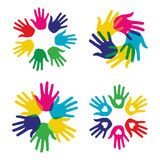 Multicolor diversity hands set. Multicolor creative diversity hands symbols set. Vector illustration layered for easy manipulation and custom coloring Royalty Free Stock Photography