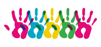 Multicolor diversity hands symbol Stock Images