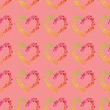 Multicolor dots forming a heart shape, a seamless romantic pattern on a pink background. Seamless pattern pastel background  style illustration hand drawn stock illustration