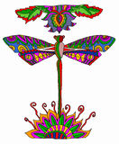 Multicolor dragonfly. Vector illustration, drawing made with bamboo pen intuos vector illustration