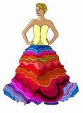 Multicolor dress on white background Royalty Free Stock Photography