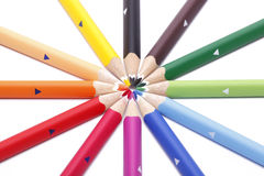 Multicolor dry color pens. Detail on white background Stock Photos