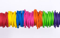Multicolor elastic rubber bands Stock Image