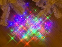 Multicolor electric garland with star shaped lights effect Stock Photography
