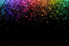 Multicolor falling particles on black background. Vector. Illustration Stock Photography
