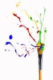 Multicolor farba levitate wokoło forefinger Zdjęcia Royalty Free