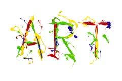 Multicolor farba malująca słowo sztuka Fotografia Royalty Free