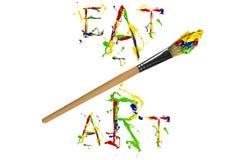 Multicolor farba slogan, paintbrush i Zdjęcie Royalty Free