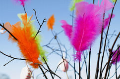 Multicolor Feathers with Branches. Multicoloured feathers dancing with the waves of wind and easter eggs during a sunny day on blue sky stock photography