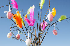 Multicolor Feathers and Eggs. Multicoloured feathers and easter eggs during a sunny day on blue sky royalty free stock image