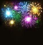 Multicolor Festive Firework Salute Burst on Black Royalty Free Stock Photo
