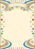 Multicolor fiesta poster. A vintage champagne color poster with multicolor stars for your advertising Royalty Free Stock Image
