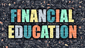Multicolor Financial Education on Dark Brickwall. Doodle Style. Financial Education - Multicolor Concept on Dark Brick Wall Background with Doodle Icons Around Royalty Free Stock Image
