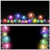 Multicolor Firework Banners. Abstract holiday multicolor fireworks banners at night Stock Photos