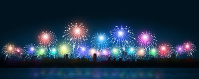 Multicolor Fireworks in City Royalty Free Stock Photography