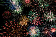 Multicolor fireworks display. On black background stock photos