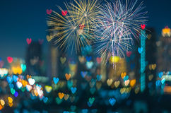 Multicolor fireworks with Heart bokeh background, Love concept Stock Photography