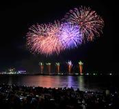 Multicolor fireworks night scene Stock Photography