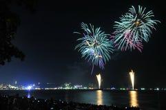 Multicolor fireworks night scene Stock Image