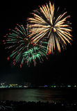 Multicolor fireworks night scene Royalty Free Stock Photography