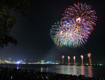 Multicolor fireworks night scene Royalty Free Stock Photos