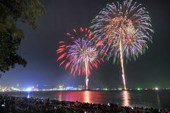 Multicolor fireworks night scene Stock Photo